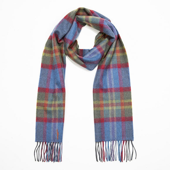 Blue, Green & Red Check Merino Scarf