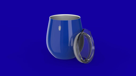 A rounded shiny blue cup with silver inside and no handle. A small white logo is near the top. Beside is the clear circular lid with part of the lip jutting out to help remove it.