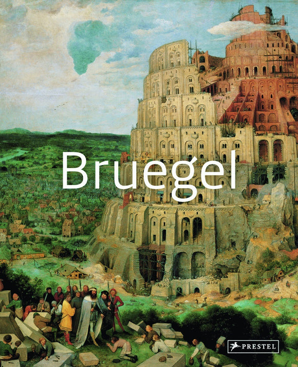 A painting of a tiered tower building surrounded by green fields with a crowd looking on. Over top in the centre is 'Bruegel' in thin white letters.