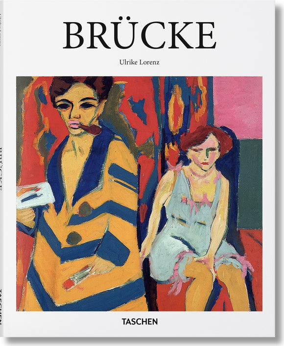A white background with the title in thin, black letters across the top. Underneath, taking up most of the cover, is a flat, colourful, expressionist painting of a woman sitting in a blue dress and a man standing in a yellow and blue striped jacket.