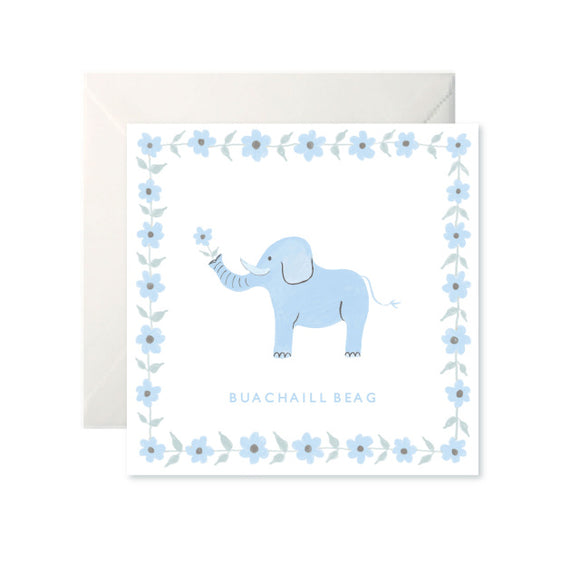 A white card with a drawing of a blue elephant holding a flower in its trunk. 'Buachaill Beag' is written in capital letters in blue underneath. The border of the card is the same blue flower the elephant holds.