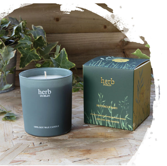 A candle in a dark grey blue jar. It has a matching box with illustrations of green plants and buttercups with different coloured backgrounds on each panel, with the product details in gold.
