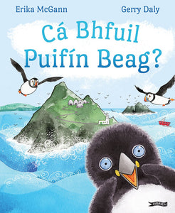 An illustration of an island in the distance with puffins flying overhead. In the front right is a close up of a baby puffin looking out at the reader. The title is across the sky at the top in blue letters.