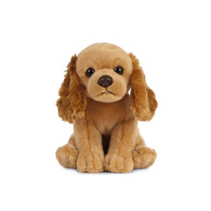 A soft, light brown dog with long, slightly fluffier ears sitting upright.