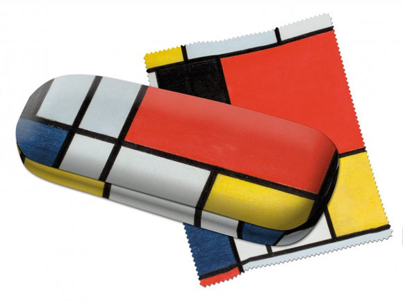 The design on both the glasses case and lens cloth is made up of white squares and rectangles separated by black lines. Some of the squares and rectangles are coloured red, black, blue and yellow. There is one large red square.