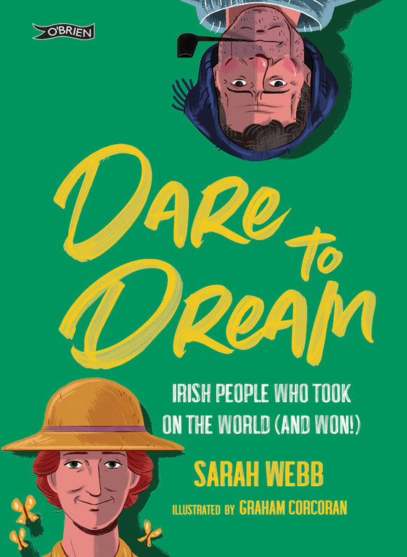 A green cover with the title in yellow painted letters in the centre. In the top right corner peeking down is a man from the neck up, smoking a pipe and wearing a knit hat. In the bottom left corner is a woman from the neck up wearing a straw hat, with some butterflies.