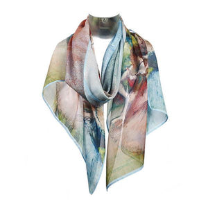 A scarf, primarily in shades of light blue and pink draped around an invisible neck.