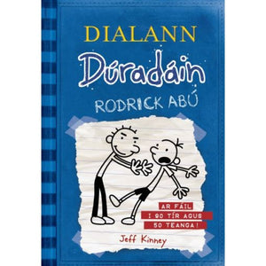 A blue cover that looks like a piece of ripped, lined paper was tapped to the front. A simple cartoon drawing of a boy pushing over another boy is on it. The title is across the top in yellow and blue.