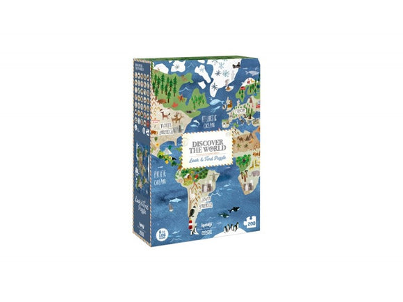 A blue box with part of a map of the world visible. There are cartoon illustrations over the map such as tree, animals and monuments. A white stamp like rectangle is in the centre with the title inside.