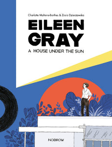 The cover is split in two along a slanted line, the top half white and the bottom blue. In the blue is an illustration of a women standing on top of a flat roof building with a rising sun and plants behind her. The title is in black letters in the white part.