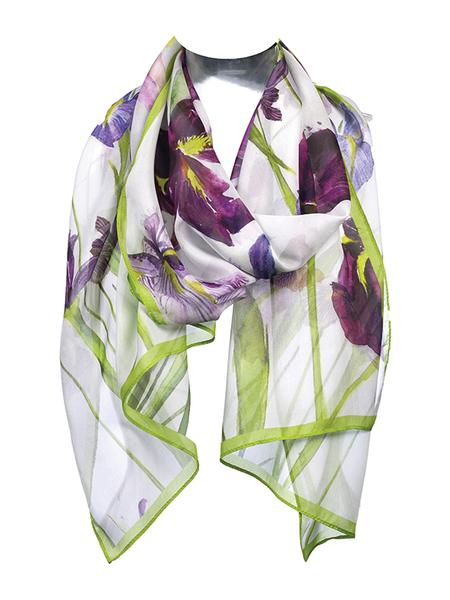 A scarf with very dark and light purple flowers, with green stems and leaves, against a white background draped around an invisible neck.