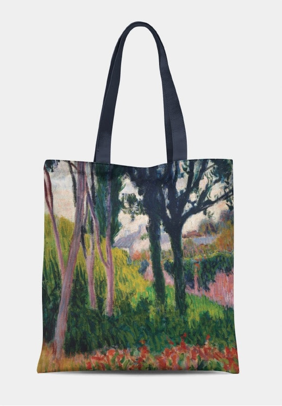 A bag with a long black handle. An expressionist landscape of prominent trees with a house and wall visible in the background. The trees are in light and shade, with green and red plants on the forest floor.