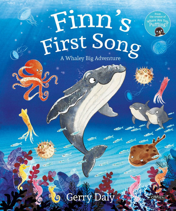 A cartoon underwater scene of a grey baby whale surrounded by various fish, octopus and jelly fish. The title is across the top in white letters.
