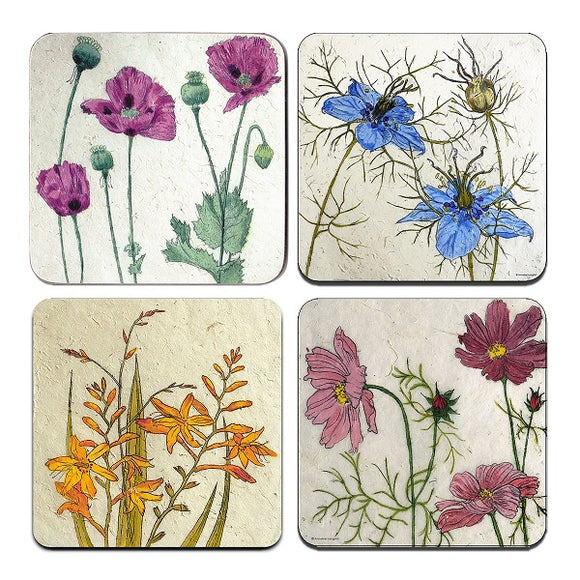 Four coasters, each with different drawing of flowers; purple poppy flowers with sage green leaves and unopened buds, two blue flowers with wiry stems and leaves, orange flowers and buds with long green leaves, and pale purple flowers with wiry stems and leaves.