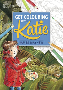 The background is half coloured in drawing of a tiger in a jungle. In front is a drawing of a little girl in a red coat holding a paint brush and palette. There are scattered drawings of colouring pencils at the edges. The title in in a large blue square at the centre top.