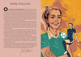 A two page spread from inside the book. The left page is peach with a short biography of Denise O'Sullivan. The right is an illustration of her in her Irish jersey and of kicking a ball.
