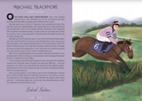 A two page spread from inside the book. The left page is purple with a short biography of Rachel Blackmore. The right is an illustration of her riding a horse as it jumps over a hedge.