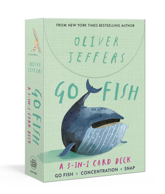 A light green box with a drawing of whale in the centre. 'Oliver Jeffers' and 'Go Fish' are written above in green. It is also written along the side of the box.