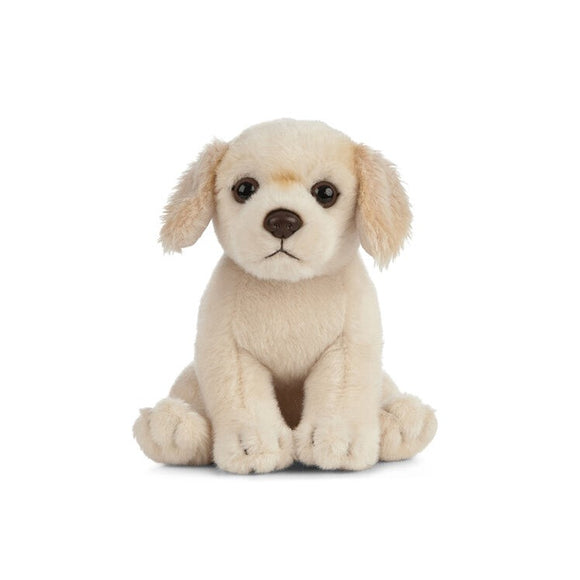 A soft, cream toy dog sitting upright.