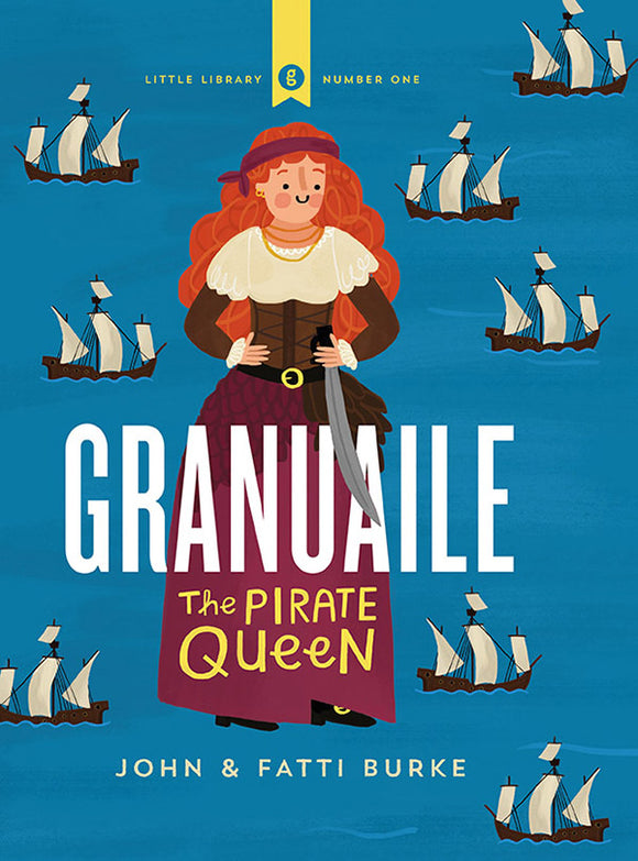 A blue background with a pattern of old sailing ships. A flat illustration of a woman with red hair dressed as a pirate, a sword on her waist, is in the centre. The title is in large white, capital letters in the centre.