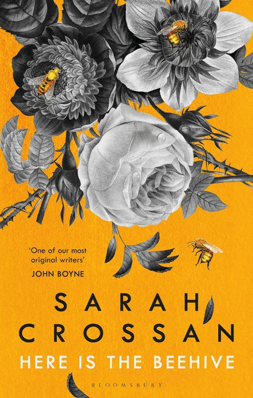 A dark yellow cover with a black and white illustration of flowers coming down from the top. There are yellow bees scattered through the flowers. The author's name and book title are at the bottom in black and white.