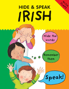 The top part of the cover is yellow with the title in black. The rest of the cover is an Irish flag. Drawings of three different children go down the centre of the flag saying 'Hide the words', 'Remember them', 'Speak!'