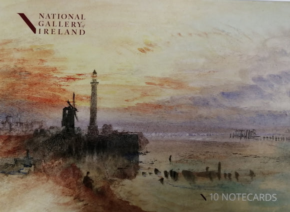The pack cover is a vibrant watercolour of beachside scene at sunset. A lighthouse and windmill are silhouetted in black against an orange and purple sky.