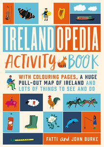 A cover made up of different squares of red, blues and cream. Each one has a different drawing of an Irish item such as a harp, a dolphin and wellies. The title is across the middle in red and light blue.
