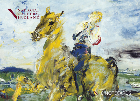 The pack cover is an expressionist painting with visible brush strokes and paint texture. A man, with his head thrown back to the sky, rides a yellow horse.