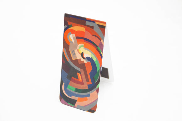 An open bookmark standing upright. The front is an abstract image of various shapes making a curved shape. It is primarily in shades of orange but with some blue and green as well.