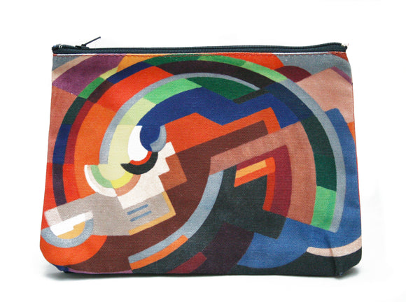 A zip top bag with an abstract image of various shapes making a curved shape. It is primarily in shades of orange but with some blue and green as well.