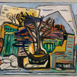A cubist painting with a tree in the centre. The landscape is flattened around it giving a more abstract look. The brush strokes and paint texture are visible.