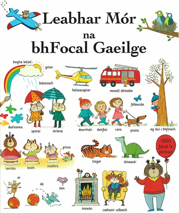 A white cover filled with colourful cartoon drawings of many different things and their Irish word, from butterfly, to friend, to fire, to sun. The title is across the top in black.