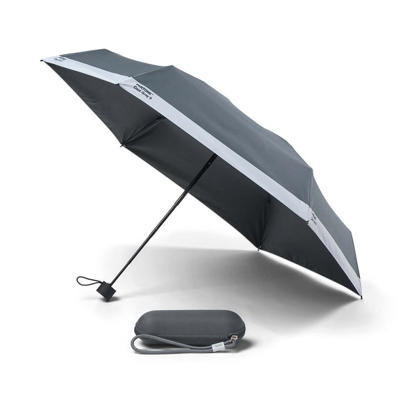 A grey umbrella with a white stripe along the edge. On each panel 'Pantone Cool Gray 9' is in small black letters in the white. The underside and handle is black. Beside is a matching rounded grey case with a grey strap handle.