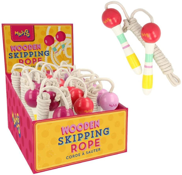 A white skipping rope with colourful stripped, painted handles. To the left is a yellow and pink display box with multiple skipping ropes in it.