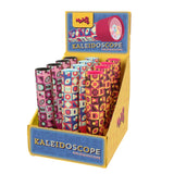 A yellow and blue display box with a number of kaleidoscopes standing in it. They are covered in a geometric pattern in different colour combinations. One primarily pinks and black, one blues and reds, and one yellows and oranges.