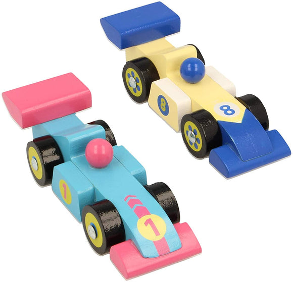 Two simple wooden race cars. One is light blue light pink details. The other is a cream yellow with dark blue details.