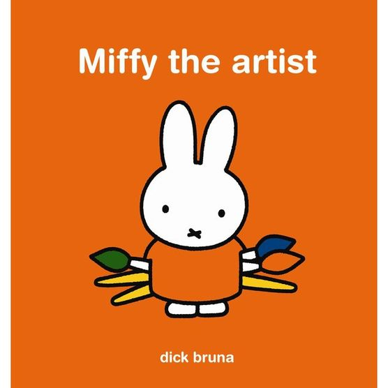 An orange cover with a simple drawing of a white rabbit in the centre. It wears an orange top and is holding three paint brushes. The title is across the top in white.