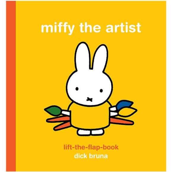 A yellow cover with a simple drawing of a white rabbit in the centre. It wears a yellow top and is holding three paint brushes. The title is across the top in white.