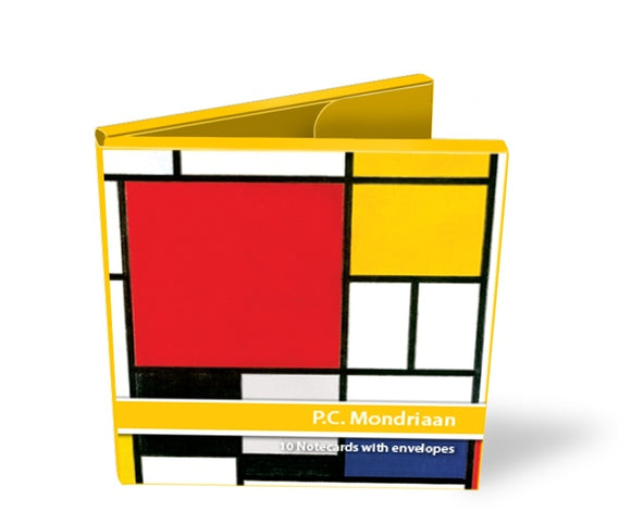 The front of the notecard wallet shows one of Mondrian's paintings. The box itself is yellow around the edges and opens in half like a book.