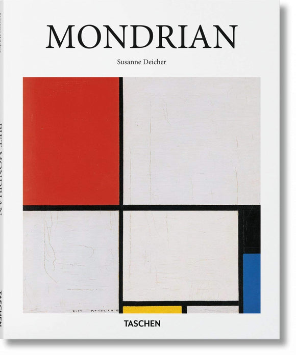 A white background with the title in thin, black letters across the top. Underneath, taking up most of the cover, is a painting of white squares and rectangles with black lines separating them, with red, blue and yellow squares.
