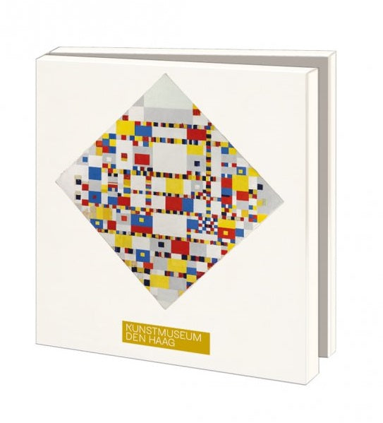 The front of the notecard wallet shows one of Mondrian's paintings, this one a diamond shape made up of many tiny squares of red, white, blue, black, grey and yellow. The box itself is white around the edges and opens in half like a book.