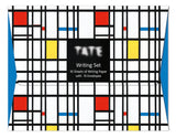 The package is covered in a pattern of white, red, blue and yellow squares and rectangles separated by black lines. In the centre is a black square with the Tate logo and describing the set.