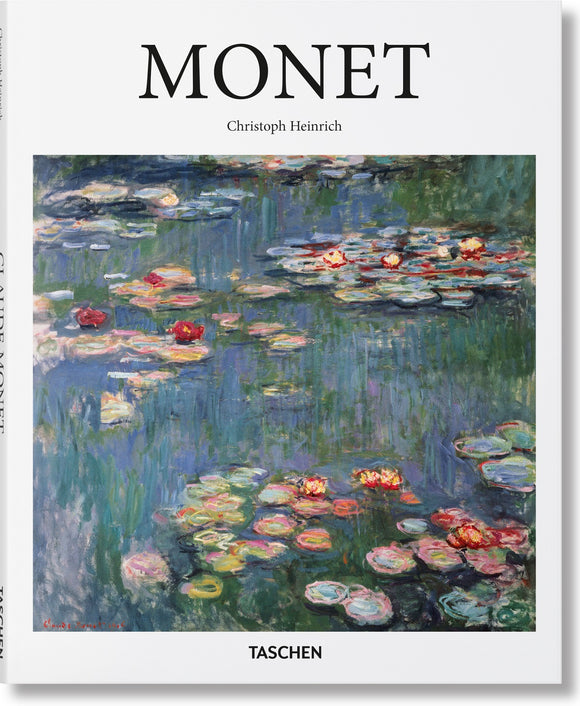 A white background with the title in thin, black letters across the top. Underneath, taking up most of the cover, is an impressionist painting of water lilies and lily pads in blue and green water.