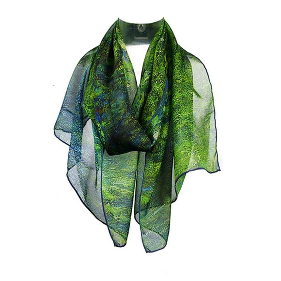 A scarf, primarily in shades of green draped around an invisible neck.