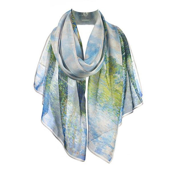 A scarf, primarily in shades of light blue and green draped around an invisible neck.