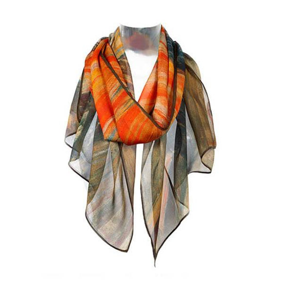 A scarf, primarily in shades of dark brown and orange draped around an invisible neck.