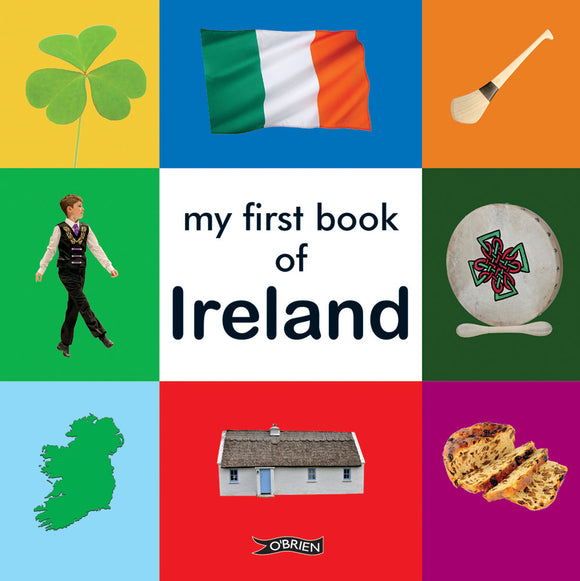 The cover is split into different coloured squares. The centre is white with the title in black letters. The other squares have photos of Irish things like a shamrock and hurley.