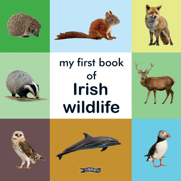 The cover is split into different coloured squares. The centre is white with the title in black letters. The other squares have photos of animals such as a fox, puffin, and hedgehog.
