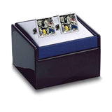 The previous cufflinks in a shining black box with a blue base.